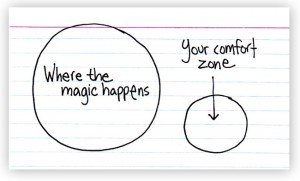 stepping outside of your comfort zone in order to grow